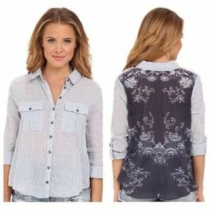 Free People Oxford Combo party blouse